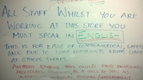 Sign in Domino Pizza banning foreign languages