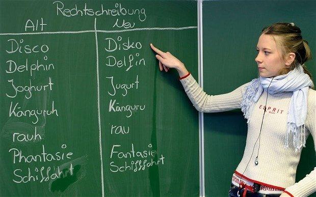 English school kid learning language at school