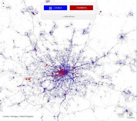 Map Tweeting tourists London