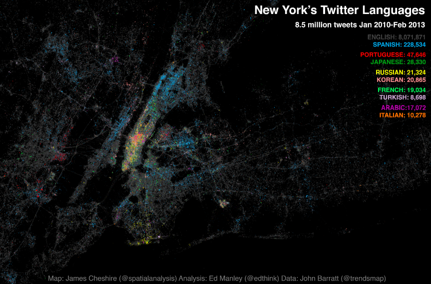 Map of Languages of New York according to tweets