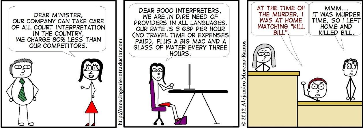 Comic strip about Court Interpreting Privitisation