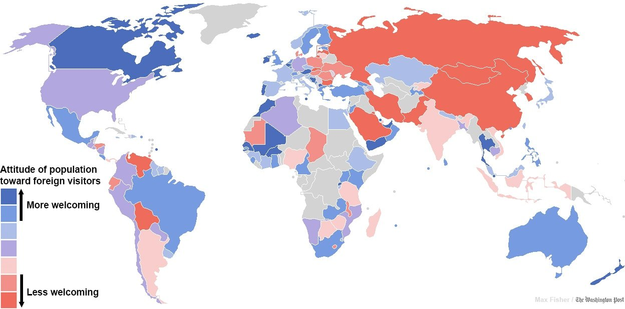 map of most welcoming countries to foreigners