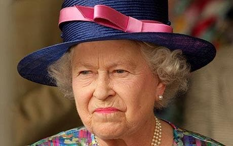 The Queen looking unhappy