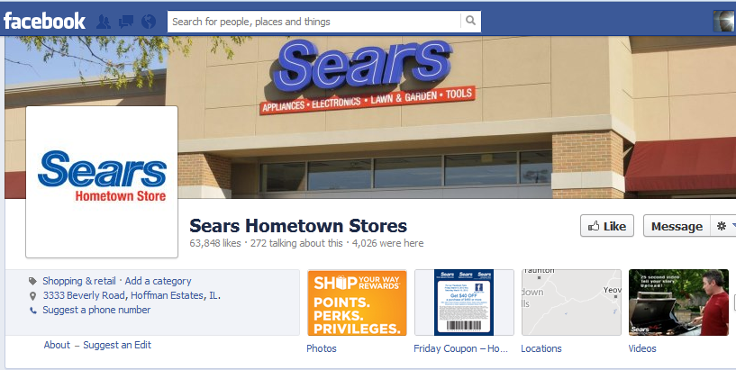 sears localized facebook pages
