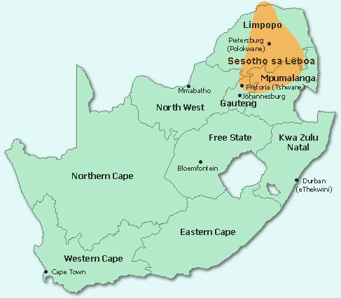 sotho language map