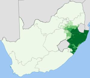 zulu language map south africa